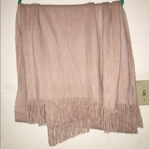 Long Pastel pink scarf with fringe